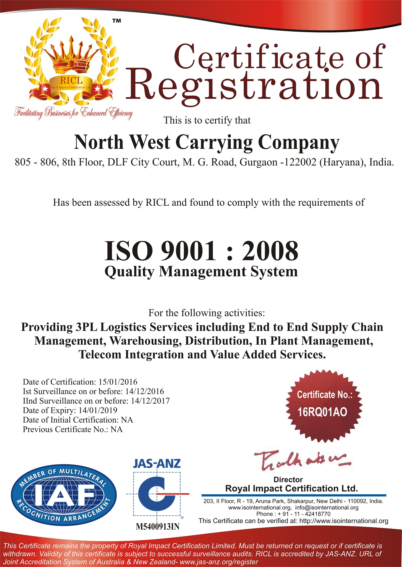 ISO Certification 9001  2008